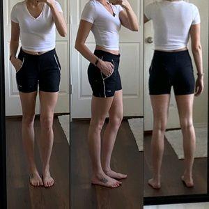 Nike black white althletic mid rise shorts